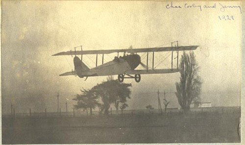 Jenny take-off, Charles P. Cooley, San Carlos Airport, 1929