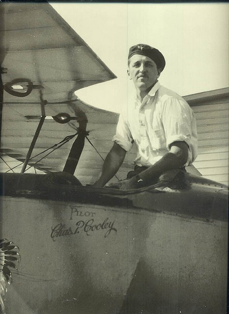 Charles P. Cooley, in Eagle Rock airplane, photo 1930s, San Carlos Airport