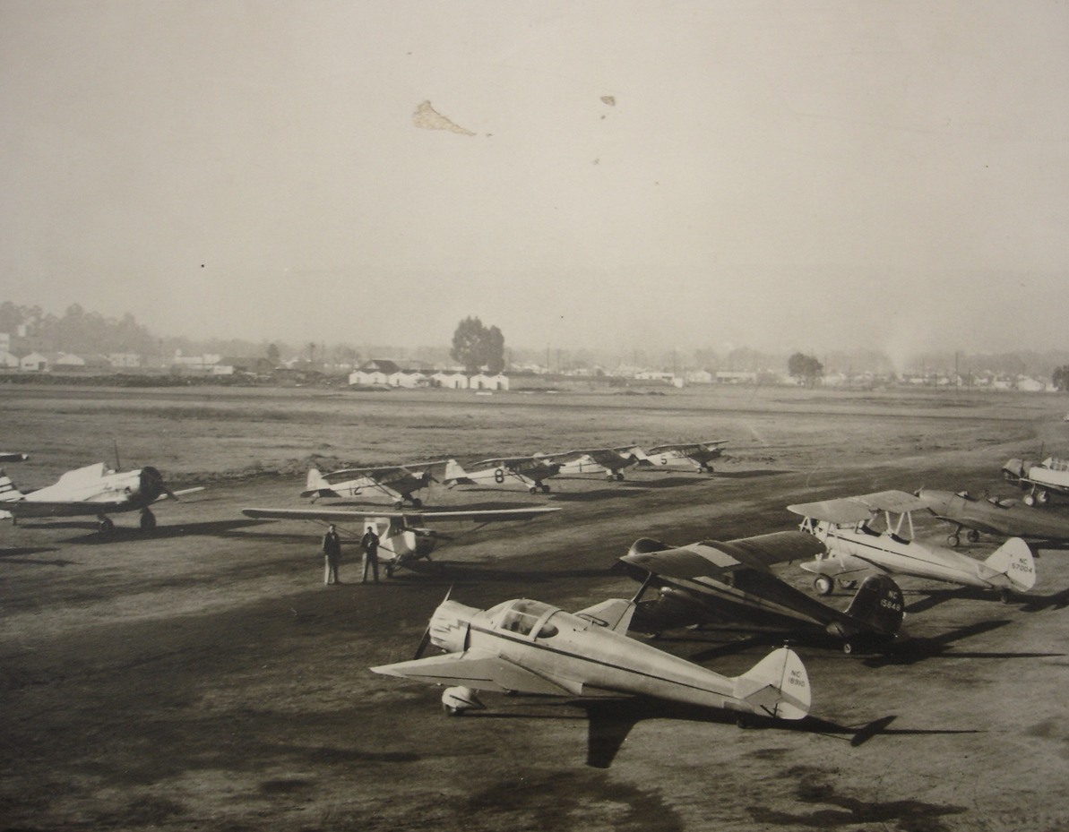 San Carlos Airport flight line with Civil Air Patrol planes 1940s